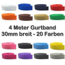 4 Meter Gurtband 30mm 3cm breit 20 Farben schwarz weiß rot grün gelb pink blau
