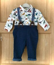 NEXT *3-6m BABY BOYS DINOSAUR SHIRT TWEED STYLE TROUSERS WITH BRACES 3-6 MONTHS