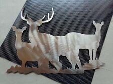 """New Deer Family Plasma Cut Metal Wall Art 12"""" W x 9"""" T Natural Steel Finish"""