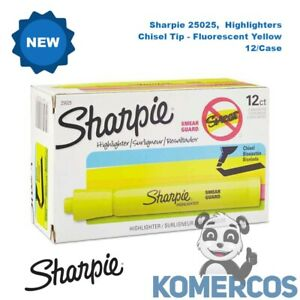 Sharpie 25025,  Highlighters, Chisel Tip, Fluorescent Yellow, 12/Case