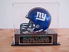 Football Mini Helmet Display Case With A Packers Super Bowl 2 Engraved Nameplate