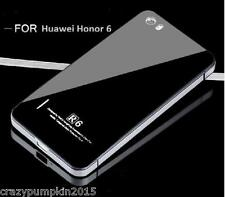 *Tempered Glass Back Aluminium Bumper Cover Case For *HUAWEI HONOR 6* - SILVER