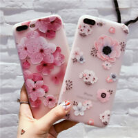 Fashion Sweet Flower 3D Cute Case Cover Silicone TPU For IPhone X 8 6 6S 7 Plus