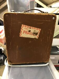 Vintage Linhof leather camera equipment suit case - size H44xW39xD14 cm