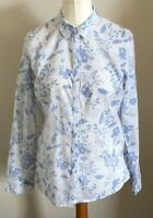 Isle Size 12 Ladies Long Sleeve White Shirt Top With Blue & Purple Floral Print