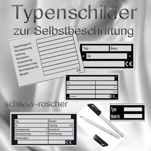 Typenschilder Maschinenschild Leistungskennzeichnung einfach selber beschriften