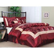 Flocking Luxury Comforter Set 7 PC Bedding Bed Skirt Bedroom King Size Red Gold