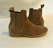 Handmade Mens Chelsea Beige Suede Leather Boots, Men leather boot crepe sole 45