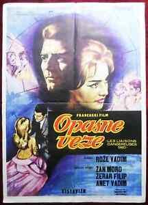 1961 Original Movie Poster Les Liaisons Dangereuses Roger Vadim Jeanne Moreau