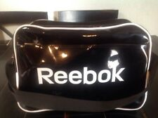 VTG Reebok Black White Patent Leather Gym Bag Duffel Under Seat Carry On Tote