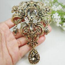 """Woman 5.12"""" Vintage Flower Pendant Brooch Pin Brown Rhinestone Crystal"""