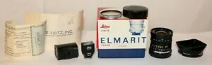 Leica 28mm f/2.8 Elmarit M V2 In Box + 28mm SLOOZ Black Viewfinder + 12501 Hood