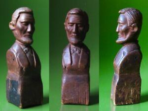 Vtg Antique? American Folk Art Carved Wood memorial bust President Abe Lincoln