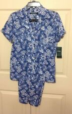 NWT LAUREN RALPH LAUREN 2-PC SHORT SLEEVE CAPRI PAJAMA BANDANA BLUE SMALL $68.