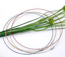 5 mezclado de color necklace/choker Memoria cable rebordear ~ Tornillo Broche 18inch (81g)