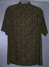 Crazy Horse-A Claiborne Company Black and Khaki Shirt Sleeve Dress Shirt Small