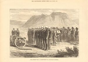 1879  ANTIQUE PRINT - AFGHAN WAR - SUBDIVISION OF A MOUNTAIN BATTERY
