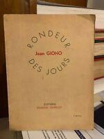 🌓 Jean GIONO Rondeur des jours Charlot 1940 Edmond Charlot Alger 5e édition