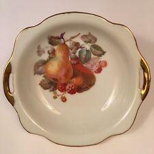 Vtg 50-60's Decorative Candy Dish Bowl Fruit Pears Gold Castle Japan Gold-tone