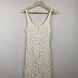 New ABERCROMBIE & FITCH Ivory Lacey Crochet SMALL Flowy Slit Maxi Tank Dress F67