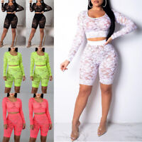 Women Crop Top Short Pants Bodycon Evening Party 2 Piece Set Jumpsuit Romper