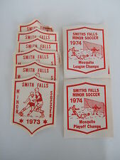 SMITH FALLS ONTARIO MINOR SOCCER sports badge patch lot of 8 - early 70s vintage