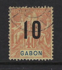 GABON : 1912 Wide Spacing surcharge 10 on 40c red/yellow SG 72B used