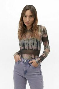 Urban Outfitters UO Surf Tie-Dye Mesh Long Sleeve Top Multicoloured S BNWT £26