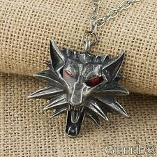The Witcher 3 Wild Hunt Wolf Medallion Cosplay Necklace Red Eyes - UK Stock