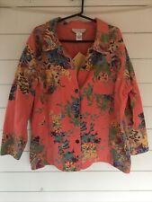 Susan Graver Style Women's Jean Jacket 100% Cotton Peach Floral Size 2X NWT