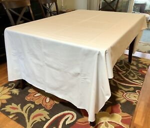 Vintage White Rectangular Tablecloth Large 104x60 Cotton Blend Easy Care