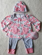 Baby Mädchen Kleid Set 3tlg ANZUG Pulli + HOSE + Mütze 🐞 ROSEN 🐞 Langarm 62/68