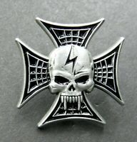 Skull Cross Steelie Vampire Lapel Hat Pin 1 inch