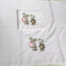 Baby Crib Sheet & Pillow Set - Embroidered White Pink Grey Doll Bed Rabbit White