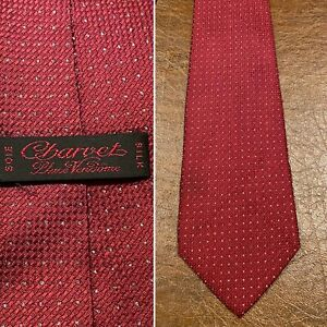 New CHARVET Place Vendome Silk Burgundy Silver/Gray Dotted Pattern Tie France