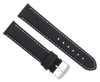 26MM LEATHER STRAP BAND FOR 47MM PANERAI GMT FIDDY 1950 WATCH BLACK WHITE STITCH