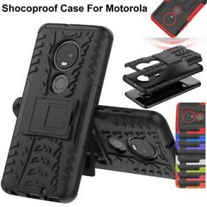 For Motorola Moto G7 G6 E5 Plus Rugged Armor Hybrid Shockproof Stand Phone Case