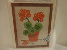 Vintage Fruit of the Loom Creative Stitchery #8100-002 Geraniums Embroidery Kit