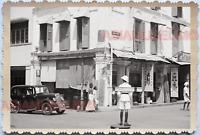 WW2 Street Scene Police Traffic Car Shop Store Vintage B&W Singapore Photo 17713