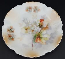 """Vintage Silesia Germany Plate Farmhouse Cottage Decor Grapes Leaves 8 1/2"""""""