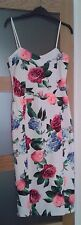 MISSI LONDON WHITE FLORAL STRETCH BODY CON MIDI SUMMER DRESS  UK 10 / 12 NEW