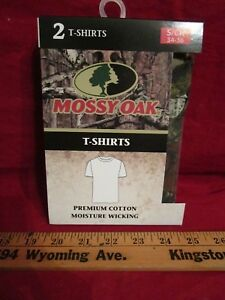 2 Mossy Oak Mens Cotton T Shirts  Camo Black Green Camouflage Small