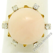 Vintage 18K Yellow Gold Cabochon Pink Angel Skin Coral Ring w/ Diamond Accents