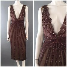 Mandalay NWT $1500 : 10 : Brown Beaded Gown Sequined Swarovski Crystals Dress