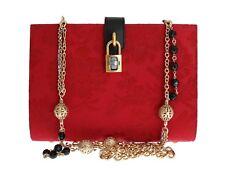 NUEVO DOLCE & Gabbana Bolso Rojo Jacquard Negro Crystal Candado Borse