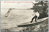 EXAGGERATED FISHING ANTIQUE POSTCARD ROXBURY BOSTON MA