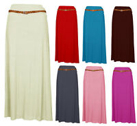 1s NEW WOMEN'S LADIES LONG JERSEY BELTED MAXI GYPSY SKIRT DRESS  SIZES 8-14