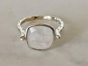 Sterling Silver Rainbow Moonstone Ring Large Square Round Size 5 6 7 8 9 10 11