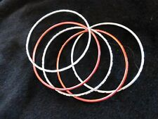 Set of 5 Metallic Red & Silver Toned Bangles / Bracelets One Size Brand New