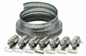 9PC Stainless Steel Hose Clamp Clip Kit - Clamps Jubilee Pipe Set 3m